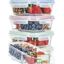 Glass Meal Prep Containers 3 Compartment SUPER BUNDLE (5-Pack WITH SAUCE CUPS & LABELS) Meal Prep...