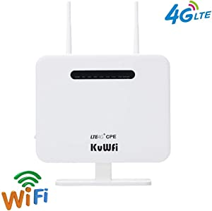 4G CPE Router 300Mbps Unlocked 4G LTE AP Wireless Router with 2 Antenna and 4 LAN Port WiFi Router Hotspot with SIM Card Slot Support B2/B4/B5/B12/B13/B17/B18/B25/B26 Network Band [Not for Verizon]