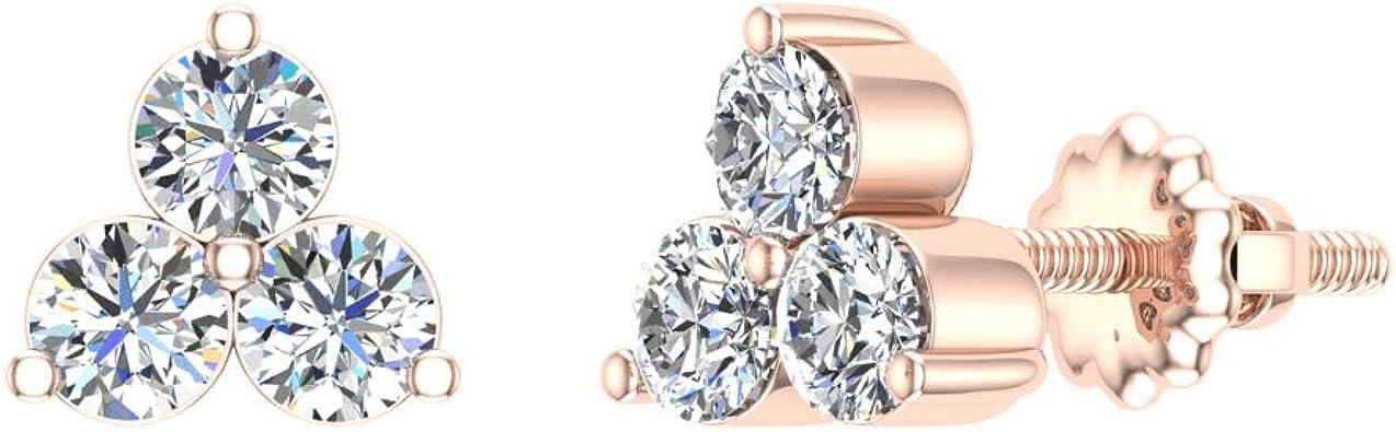 14K Gold Studs Trio Diamond Stud Earrings Diamond Studs Triangle Diamond Studs Geniue Diamond Earrings Three Stone Studs Tiny Earrings
