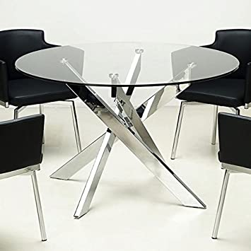 Somette Round Glass Top Chrome Dining Room Table