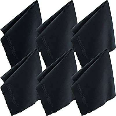 Microfiber Cleaning Cloth 12x12 Inch (6 Pack) for Lens, Eyeglasses, Glasses, Screen, iPad, iPhone, Tablet, Cell Phone - Lint FREE Cleaner Cloths to Clean Camera Lenses, Tablets & TV Screens from SecurOMax