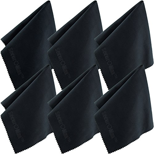 Microfiber Cleaning Cloth 12x12 Inch (6 Pack) for Lens, Eyeglasses, Glasses, Screen, iPad, iPhone, Tablet, Cell Phone - Lint FREE Cleaner Cloths to Clean Camera Lenses, Tablets & TV (220 Eyeglasses)