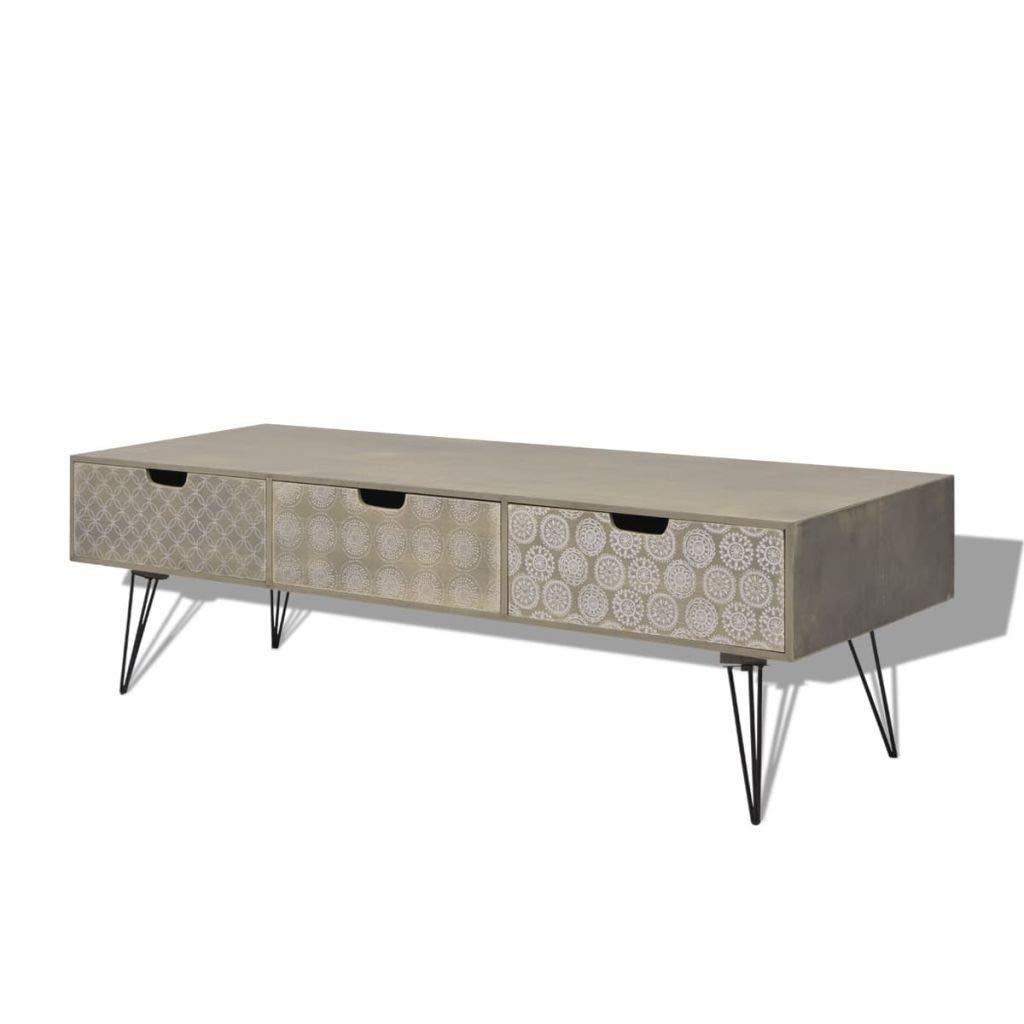 Jskjlkl Wood TV Cabinet Modern LED TV Stand with 3 Storage Drawers for Living Room Office