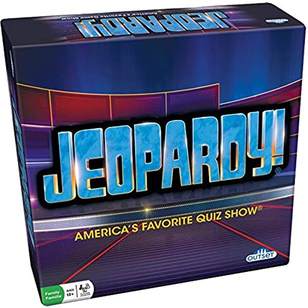 Amazon Com Jeopardy Board Game America S Favorite Quiz Show Party Game Features 180 Cards 6 Stands And Play Money Ages 12 Toys Games