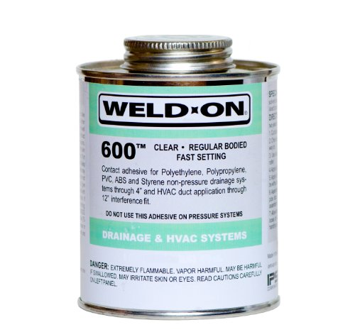 Weld-On 10076 Clear Regular Bodied Contact Adhesive, Can with Applicator Cap, 1 quart