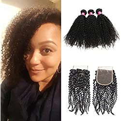 Forawme 7A Affordable Brazilian Virgin Hair Afro Kinky Curly Wavy With Lace Closure 5pcs Lot 14 16 18 20 With 12 Inch Free Part Lace Closure Bundles Unprocessed Human Hair Weave Extension Deals