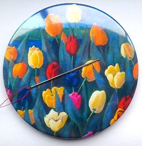 Magnetic Pin Cushion, Needle Minder, 3.5, Bright, Colorful Tulips, Original Art 3.5