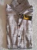 Men's 100% Thai Silk Shirts- Silver with Mosaic Artwork Pattern Size Large (38-40)