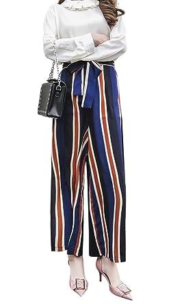 2a3feaf207 QZUnique Women's Fashion Striped High Waisted Lounge Chic Split Side Wide  Leg Boho Pants Loose Pants