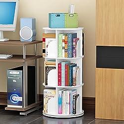 JX&BOOS Bookshelf,Creative swivel bookcase 360°bookrack modern simple shelf children's corner simple table student landed-B 46x46x97cm(18x18x38)