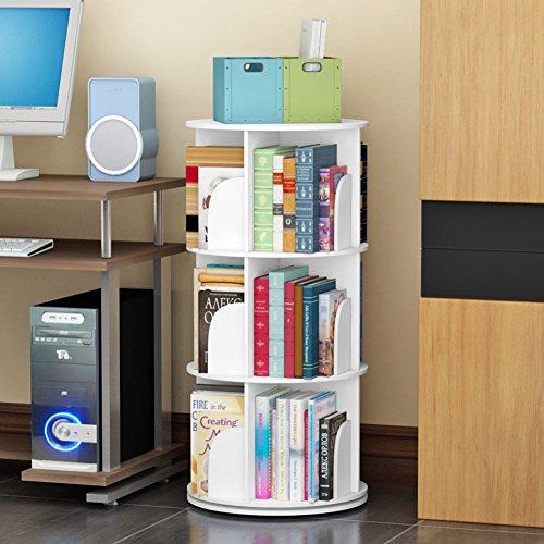 JX&BOOS Bookshelf,Creative Swivel Bookcase 360°bookrack Modern Simple Shelf Children's Corner Simple Table Student Landed-B ()