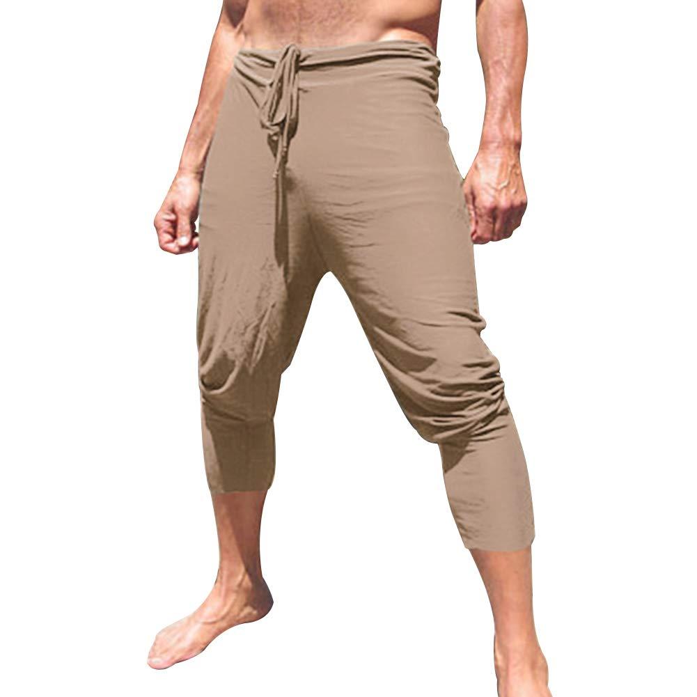 CHoppyWAVE Mens Quick Dry Beach Shorts Swim Trunks,Summer Beach Casual Men Solid Color Drawstring Elastic Waist Loose Capris Pants Army Green L