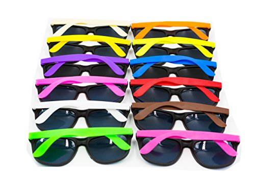 XKX 12PCS Neon 80's Style Party Sunglasses With Dark Lens For Big Bang Party ()