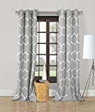 DUCK RIVER TEXTILES – Quey Geometric Grommet Window Curtain 2 Panel Drapes, 35 X 96 Inch, Grey For Sale
