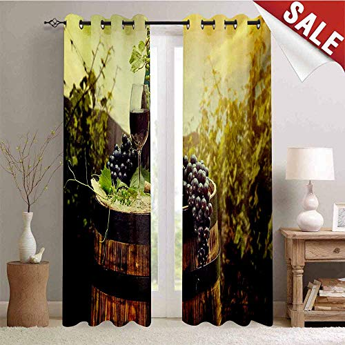 Hengshu Wine Decorative Curtains for Living Room Scenic Tuscany Landscape with Barrel Couple of Glasses and Ripe Grapes Growth Waterproof Window Curtain W84 x L96 Inch Green Black Brown ()