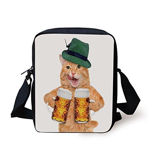 Potpourri Mug - iPrint Cat,Cool Cat Hat Beer Mugs Bavarian German Drink Festival Tradition Funny Humorous Decorative,Multicolor Print Kids Crossbody Messenger Bag Purse
