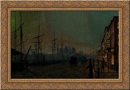 Humber dockside, Hull 24x18 Gold Ornate Wood Framed Canvas Art by Grimshaw, John Atkinson