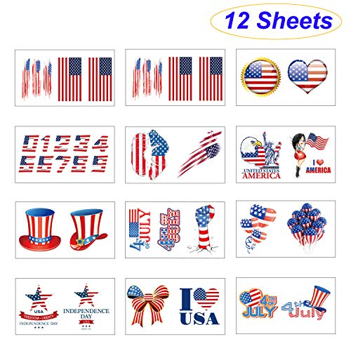 12 Sheets Fourth of July Body Decoration Tattoos Independence Day Patriotic Party Accessories Temporary Tattoo Multi Image America Flag Body Art Sticker for July 4th Celebration