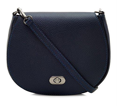   Montte Di Jinne   100% Genuine Italian Leather   Women's   Crossbody   Shoulder Bag   with Postman's Lock Navy