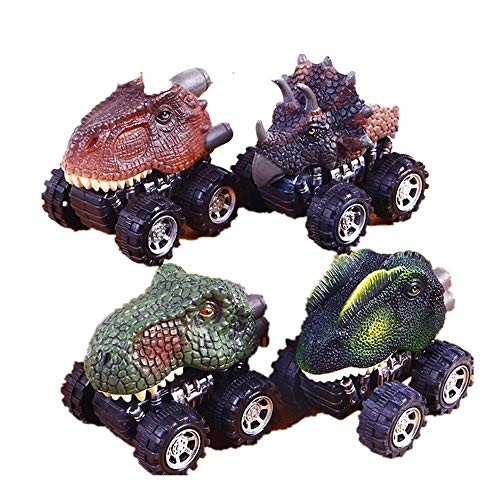Pull Back Dinosaur Cars 4 Pack Big Wheel Animal Toy for Kids Party Favors