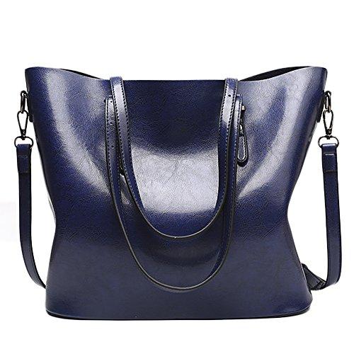 f422d2a92ea3 QZUnique Women s PU Leather Large Bucket Bag Casual Tote Handbag Cross Body  Shoulder-bag Blue