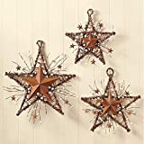 Rustic Country Primitive Berry Twig Metal Barn Stars Wall Hangings Home Decor
