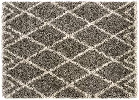 Rugs Direct Origin Luxury Shaggy Diamond - Alfombra (algodón), Color Gris y Beige Talla única Color: Amazon.es: Hogar