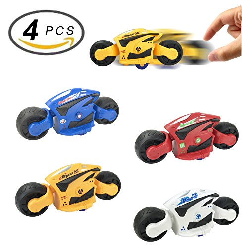 4 PCS Large Friction Futuristic Motorcycle Toys for Kids - Racing Motorbike Vehicles Party - Party Futuristic