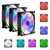 RGB Case Fan, Comkes LED Wireless Ring Fan 3 Pack 120mm with Controller, Noiseless High Airflow Multicolor Computer Cooling Fan for Computer Cases, CPU Coolers and Radiator