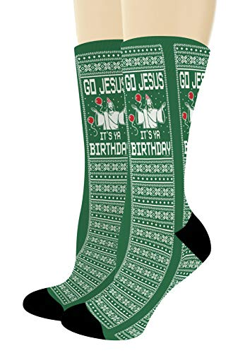 Christmas Humor Gifts Go Jesus It's Ya Birthday Fun Christmas Accessories 1-Pair Novelty Crew Socks ()
