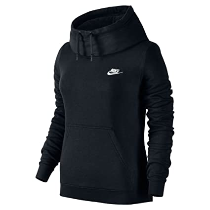 New Nike Women's Sportswear Funnel Neck Hoodie Black/Black/Black/White Small
