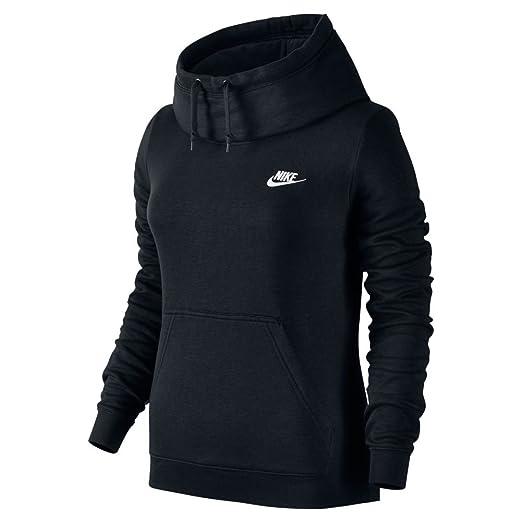 b8f84dd02a82 New Nike Women s Sportswear Funnel Neck Hoodie Black Black Black White Small