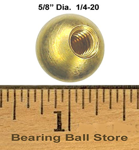 49 5/8'' threaded 1/4-20 brass balls drilled tapped lamp finials by Bearing Ball Store
