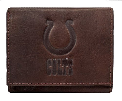 Rico Indianapolis Colts NFL Embossed Logo Dark Brown Leather Trifold -