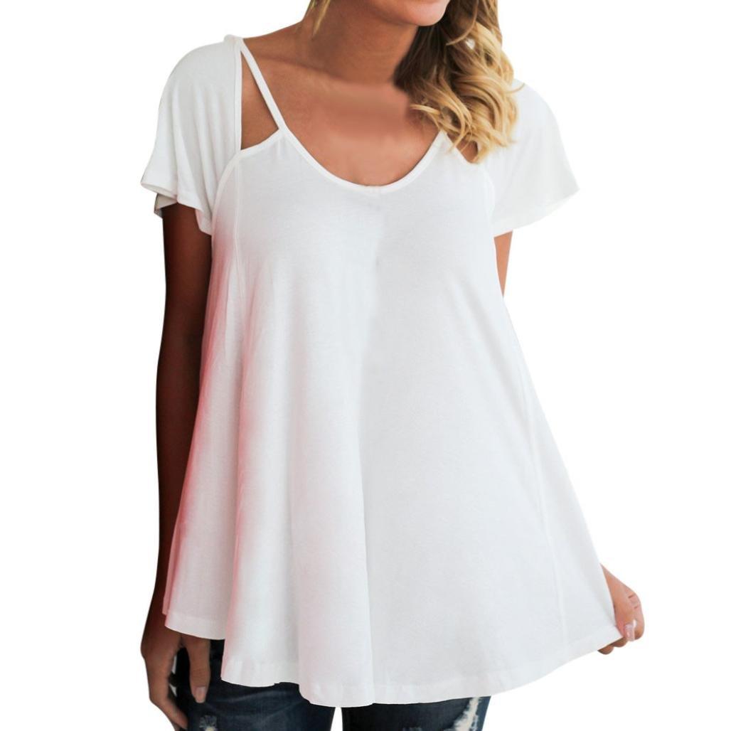 DEELIN Damen Bluse Sommer Elegante Lose Casual Kurzarm Rundhals T-Shirt Tops