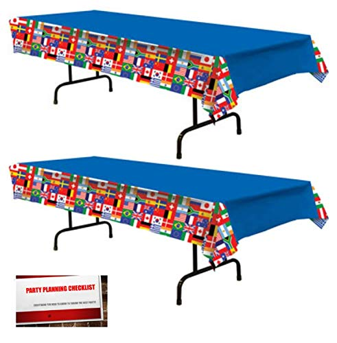 2 Pack International World Flags Plastic Table Cover