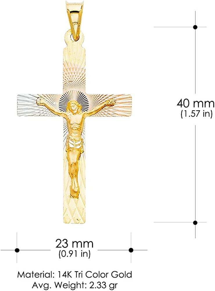 14K Tri Color Gold Diamond Cut Crucifix Jesus Cross Stamp Religious Charm Pendant For Necklace or Chain