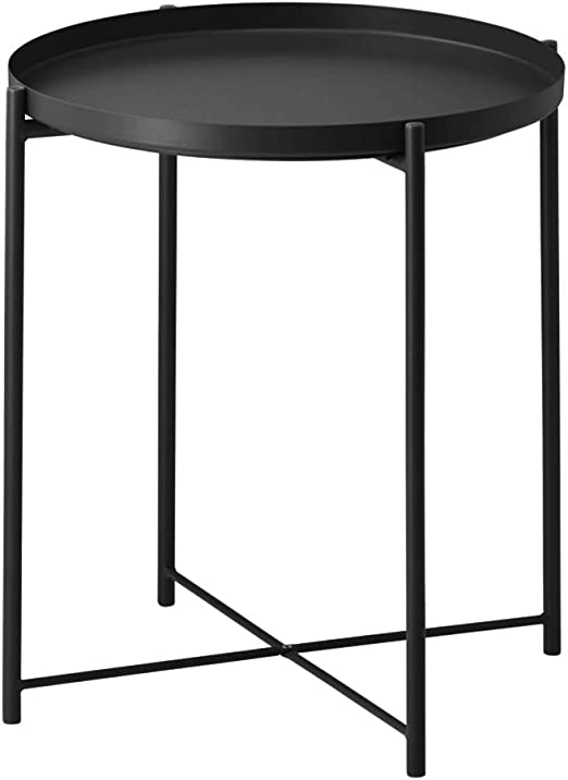"Side Table Tray Metal End Table Round Foldable Accent Coffee Table for  Living Room Bedroom(17.3""×20.5"") (L,Black) …"