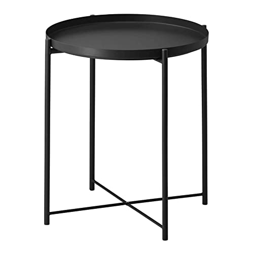 Side Table Tray Metal End Table Round Foldable Accent Coffee Table for Living Room Bedroom 17.3 20.5 L,Black