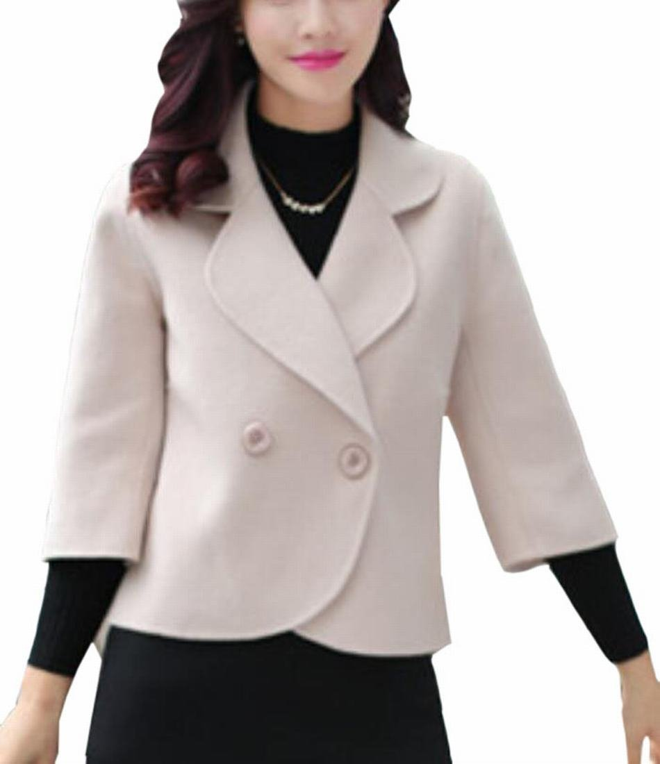 Generic Women's Fashion Solid-Colored Lapel Woolen Suit Jacket Blazer
