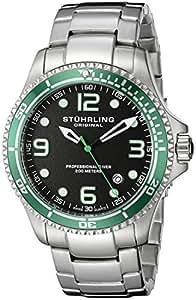 Stuhrling Original Men's 593.332P11 Aquadiver Grand Regatta Swiss Quartz Diver Date Green Bezel Watch