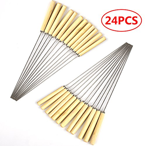 SZBAIDEKJ 24pcs Barbecue Skewers Marshmallow Roasting Sticks Wooden Handle Meat Hot Dog Fork for BBQ Camping Cookware Campfire Grill Cooking Camping Picnic, Stainless Steel,12 inches