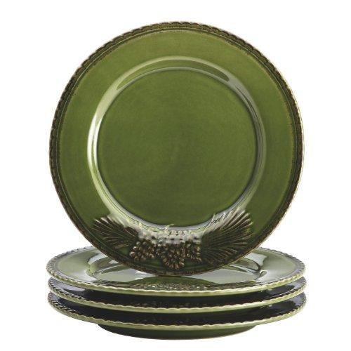 BonJour Dinnerware Sierra Pine 4-Piece Stoneware Salad Plate Set, Forest