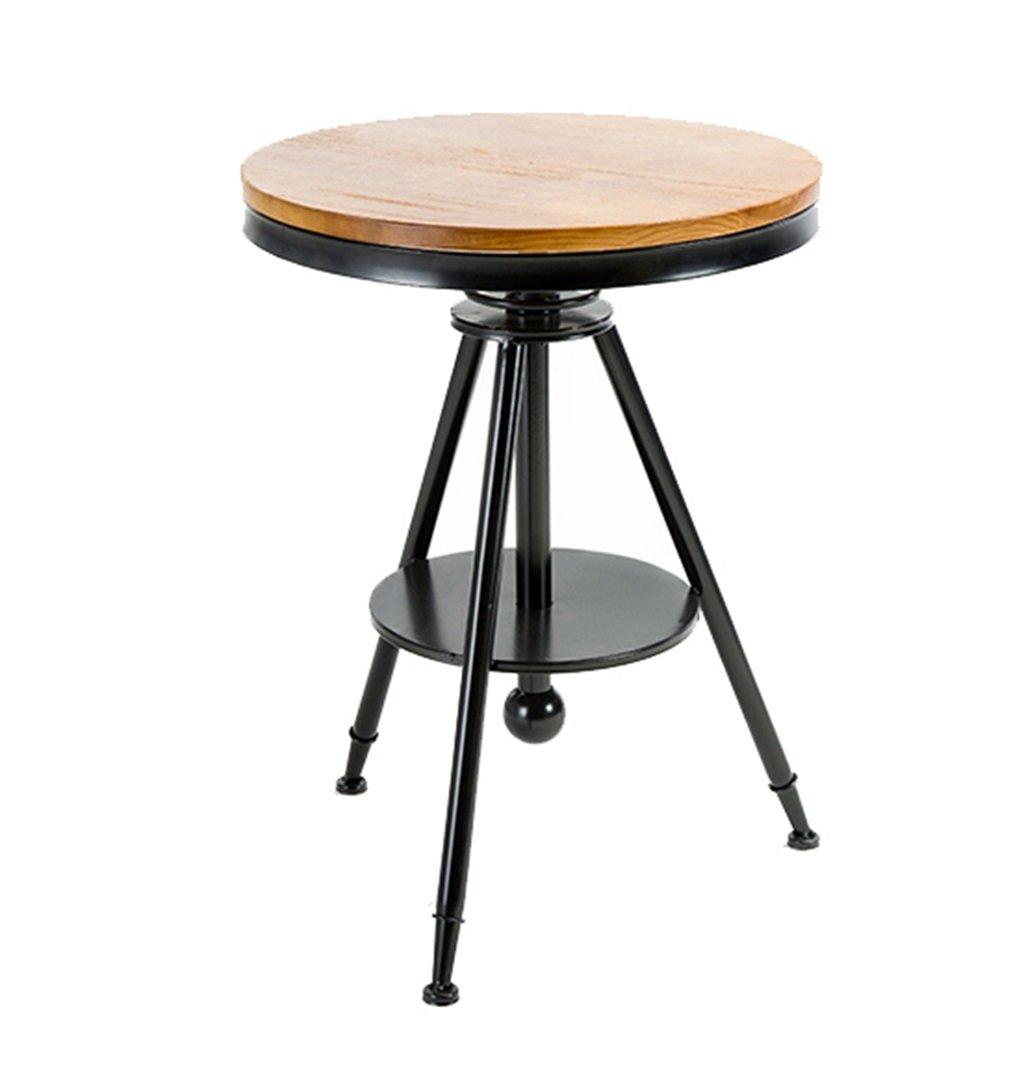 ビンテージラウンドデスクウッドハイスツールバーキッチンダイニングチェア朝食スツール|背もたれの高い椅子のレジャーシートレトロな工業デザインの黒いバースツール (色 : Round Desk) B07F9MTKVN Round Desk Round Desk