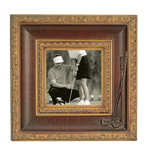 Navika 10x10 Crossed Golf Clubs Bronze Antique Molded Wood Photo Frame - Made to Display 5x5 Photo ()