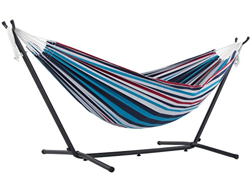 Vivere Double Cotton Hammock with Space Saving Steel Stand, Denim (450 lb Capacity - Premium Carry...