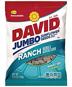 DAVID Roasted and Salted Ranch Jumbo Sunflower Seeds, 5.25 oz