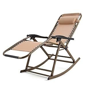 Busyall silla de relax mecedora plegable con tela de poli ster transpirable reposabrazos - Mecedora plegable ...