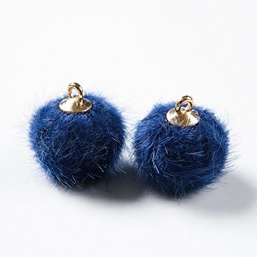 ミンクファー カン付きチャーム 2個セット 紺色 ネイビー ピアス イヤリング ペンダント キーホルダー パーツ