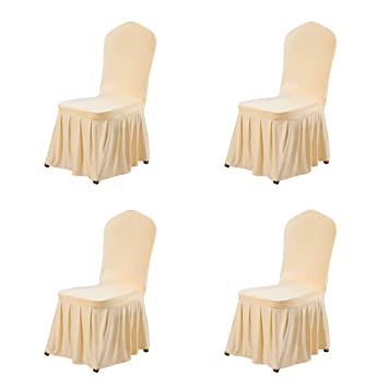 Stupendous Uxcell Stretch Spandex Round Top Dining Room Chair Covers Long Ruffled Skirt Slipcovers For Shorty Chair Seat Covers Champagne Color 4Pcs Creativecarmelina Interior Chair Design Creativecarmelinacom
